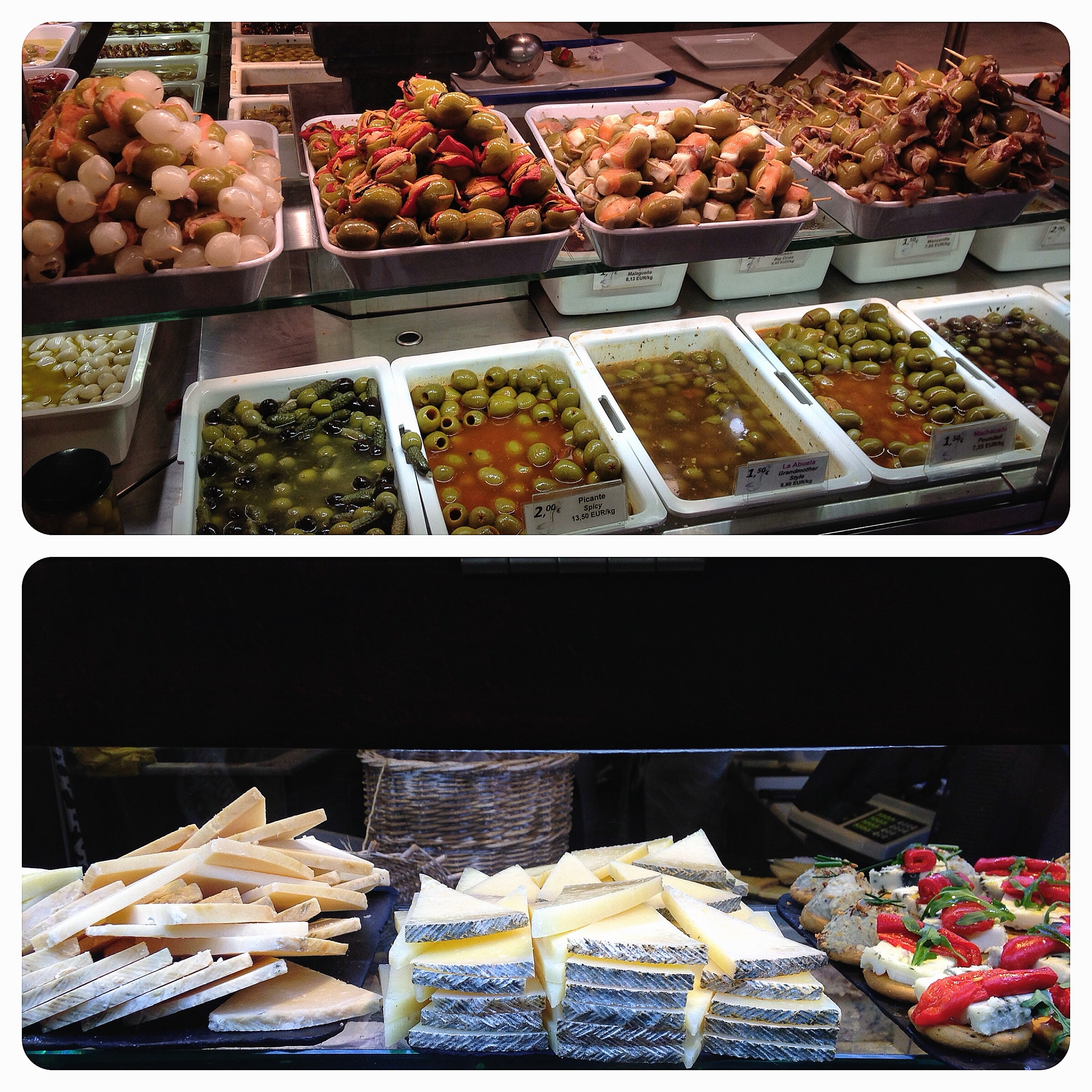 Olives and manchego at the Mercado San Miguel.