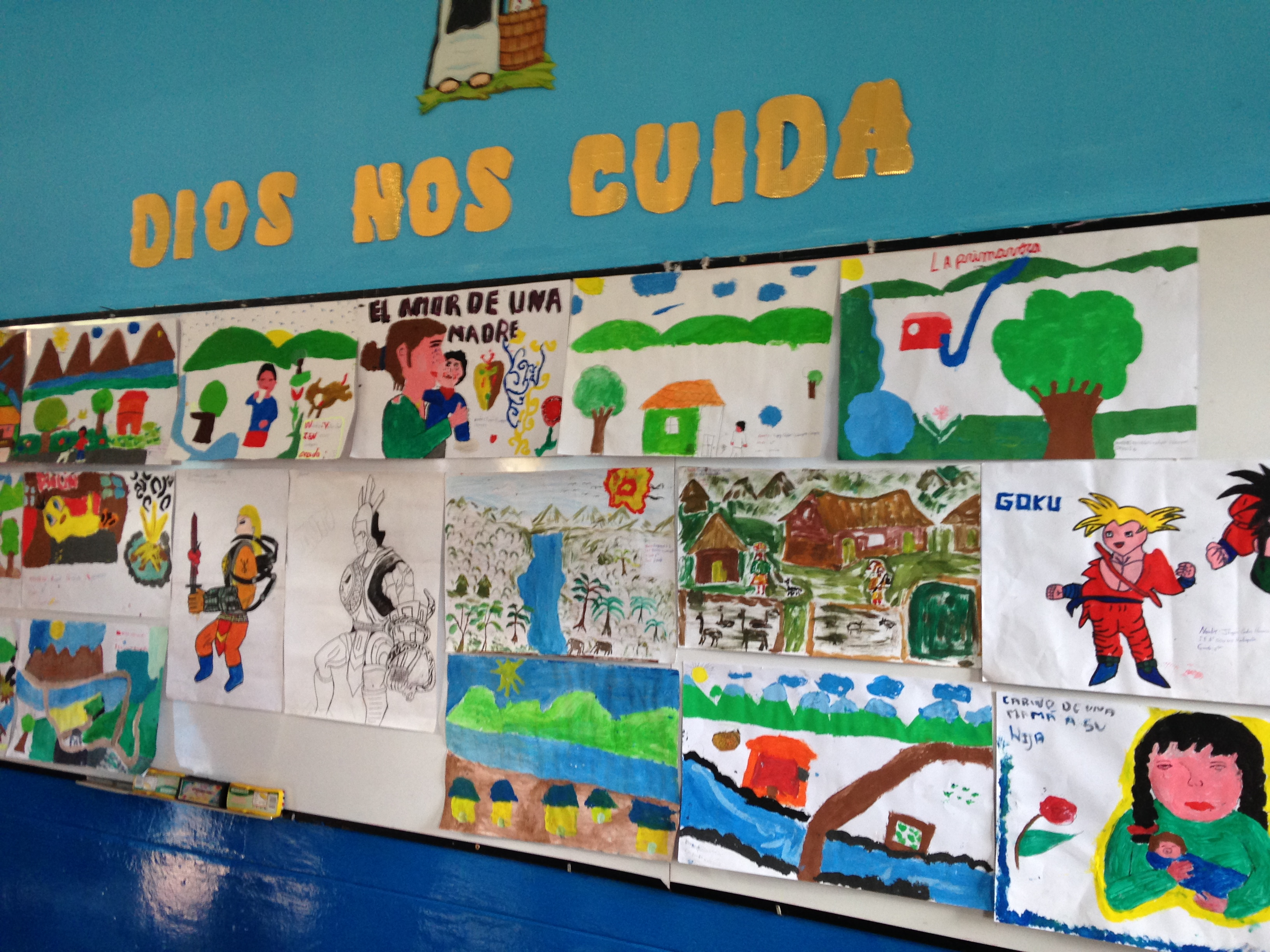 Pictures the children from Huillcapata painted!