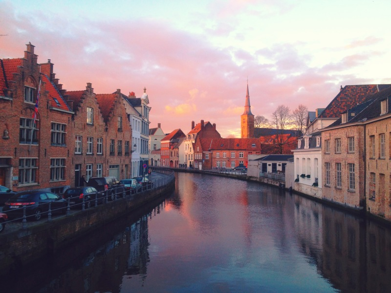 Brugge at sunset, my favorite photo from the trip!
