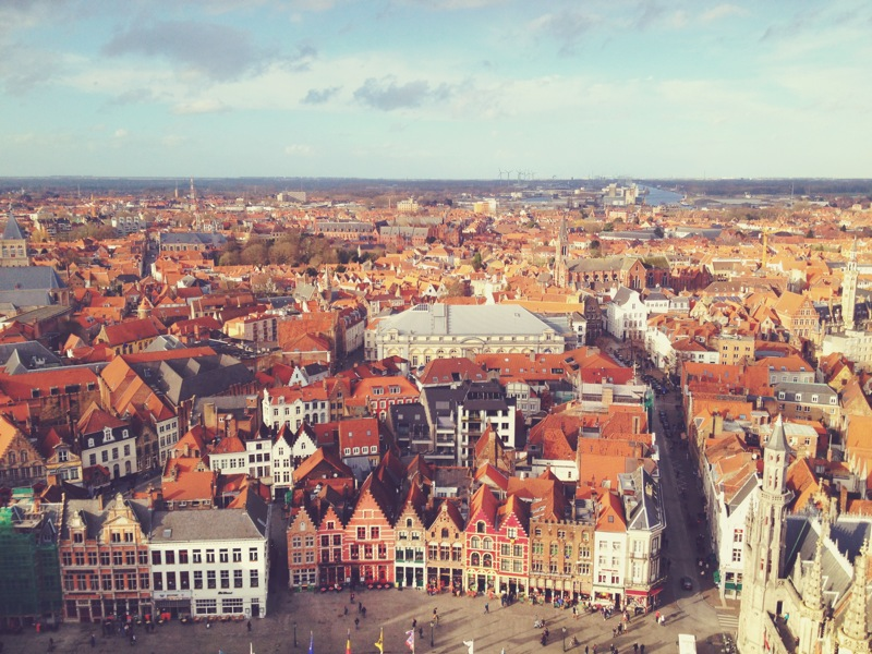 View from the top! 83 meters up, post 366-step climb of the Belfry Tower in Bruges. My legs were absolute jello by the end but this view was worth it!