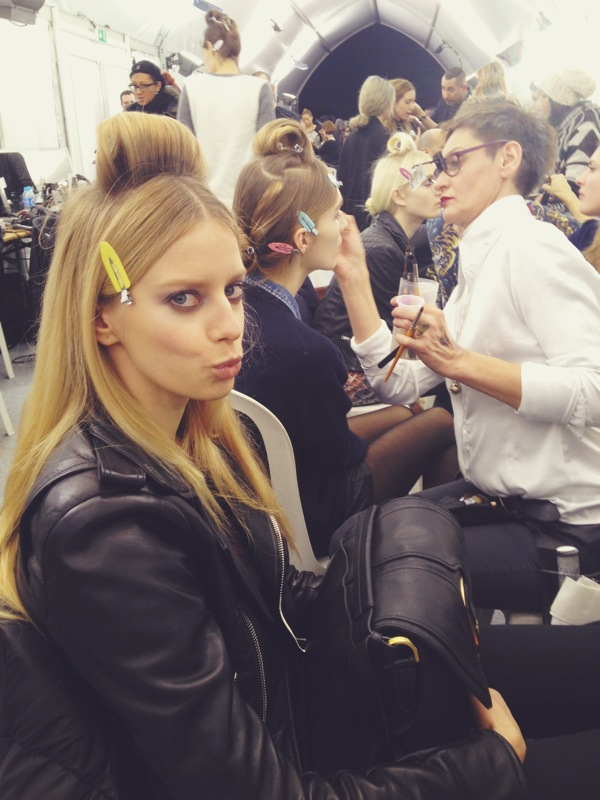Getting silly with the models backstage