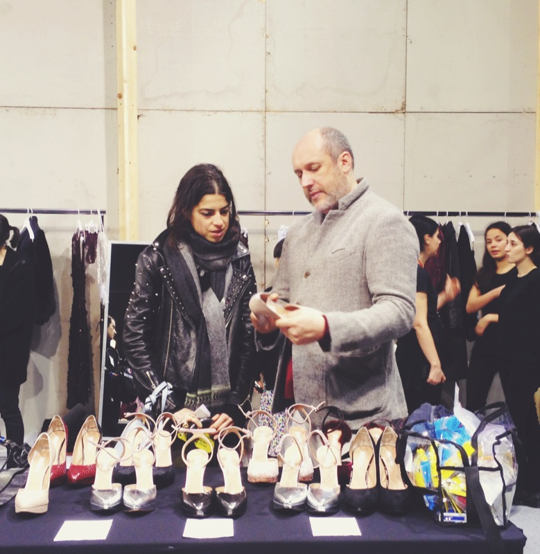 """One of my favorite fashion bloggers, """"The Man Repeller,"""" getting a sneak peak of the collection"""