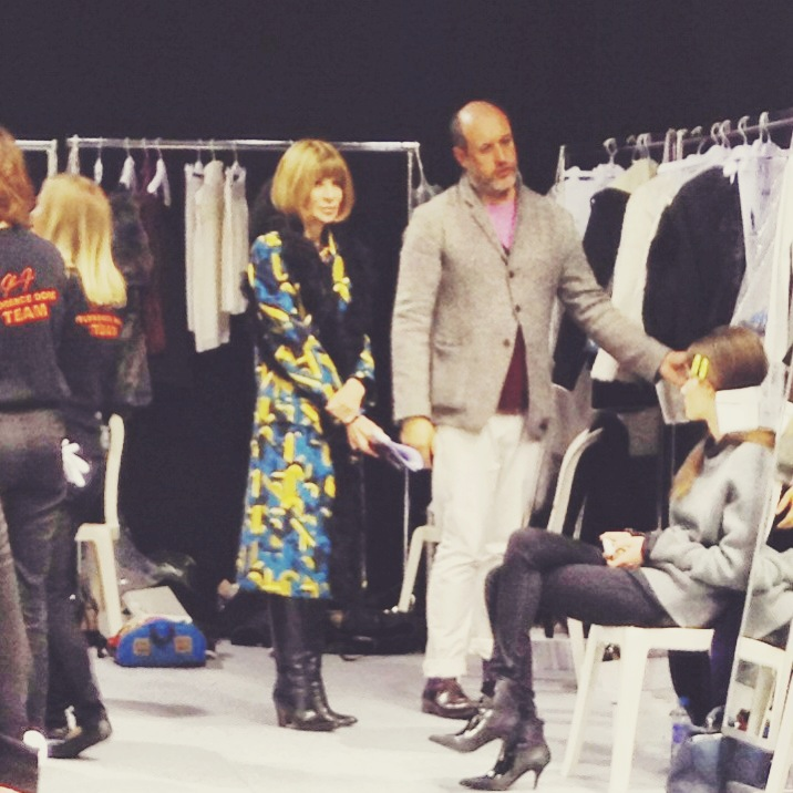 Anna Wintour (editor of Vogue US) getting a pre-show walk through of the collection with Ricci's artistic director, Peter Copping.