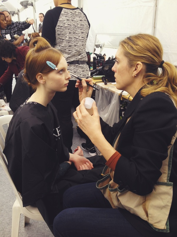 getting the models into makeup