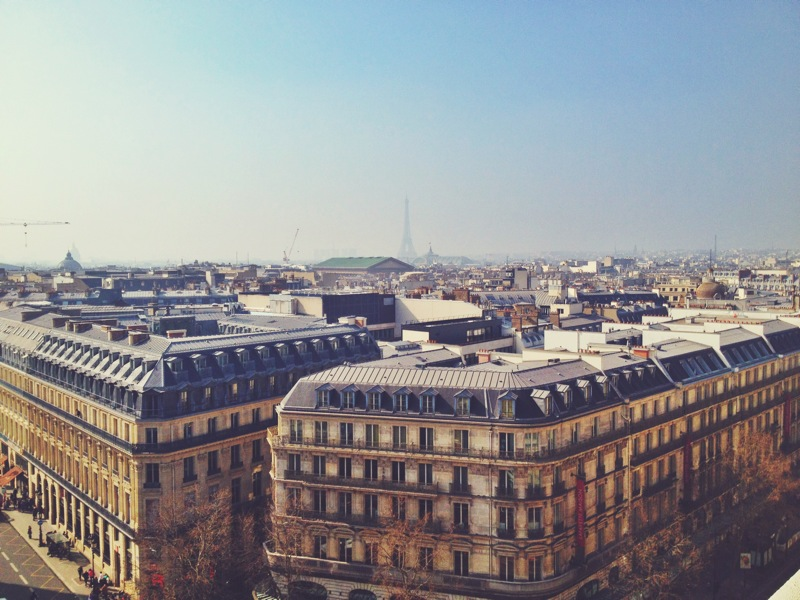 View from atop the Galleries Lafayette! This was at the height of the pollution (see how the Eiffel Tower is so hazy)?