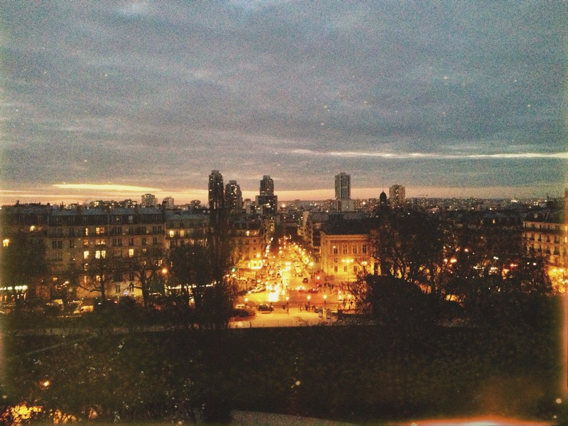 View of Paris at dusk from the temple in the park