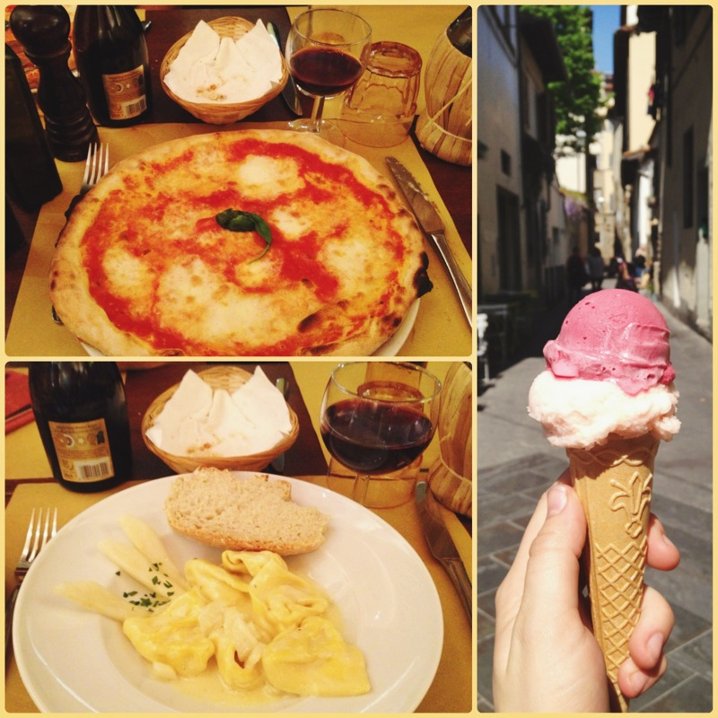 I could easily live off of italian food forever: margherita pizza, pear & taleggio pasta, and pink grapefruit & elderflower gelato!!