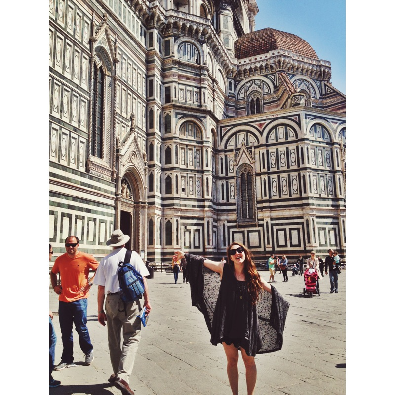 Frolicking in front of the Duomo