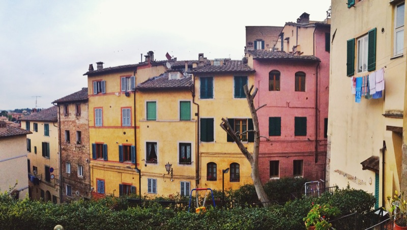 Colorful rows of houses in Siena
