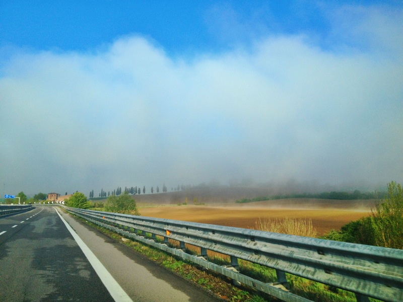 Driving through the clouds, Chianti --> Siena