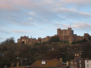 The suns sets over Dover Castle