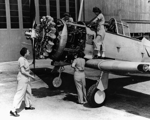 Women workers building an airplane during World War II